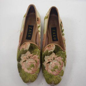 Zalo Floral Embroidered Fabric Slip On Loafers Sho